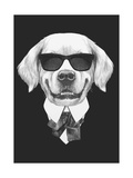 Portrait of Golden Retriever in Suit. Hand Drawn Illustration. Print by  victoria_novak