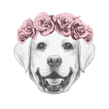 Portrait of Labrador Dog with Floral Head Wreath. Hand Drawn Illustration. Posters by  victoria_novak