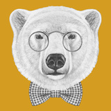 Portrait of Polar Bear with Glasses and Bow Tie. Hand Drawn Illustration. Posters by  victoria_novak