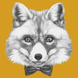 Original Drawing of Fox with Glasses and Bow Tie. Isolated on Colored Background. Poster by  victoria_novak