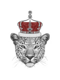 Original Drawing of Leopard with Crown. Isolated on White Background Print by  victoria_novak