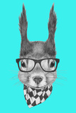 Portrait of Squirrel with Scarf and Glasses. Hand Drawn Illustration. Prints by  victoria_novak