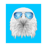Portrait of Eagle with Sunglasses. Hand Drawn Illustration. Poster by  victoria_novak