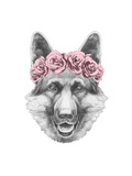 Portrait of German Shepherd with Floral Head Wreath. Hand Drawn Illustration. Prints by  victoria_novak