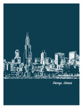 Skyline Chicago 3 Posters by Brooke Witt