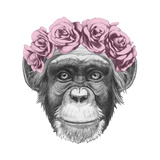 Original Drawing of Monkey with Floral Head Wreath. Isolated on White Background. Print by  victoria_novak