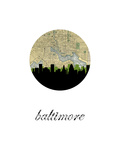 Baltimore Map Skyline Art