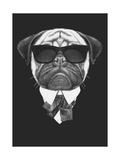 victoria_novak - Portrait of Pug Dog in Suit. Hand Drawn Illustration. Plakát