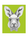 Portrait of Kangaroo with Glasses and Bow Tie. Hand Drawn Illustration. Print by  victoria_novak