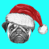 Portrait of Pug Dog with Santa Hat. Hand Drawn Illustration. Posters by  victoria_novak