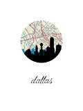 Dallas Map Skyline Poster