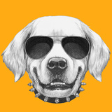 Portrait of Golden Retriever with Glasses and Bow Tie. Hand Drawn Illustration. Prints by  victoria_novak