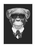 Portrait of Monkey in Suit. Hand Drawn Illustration. Plakat af  victoria_novak