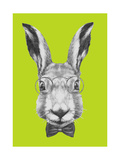 Original Drawing of Rabbit with Glasses and Bow Tie. Isolated on Colored Background Prints by  victoria_novak