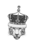 Original Drawing of Tiger with Crown. Isolated on White Background Prints by  victoria_novak
