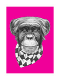 Original Drawing of Monkey with Scarf. Isolated on Colored Background. Prints by  victoria_novak