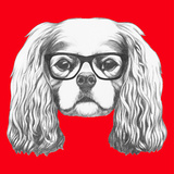 Portrait of Cavalier King Charles Spaniel with Glasses. Hand Drawn Illustration. Prints by  victoria_novak