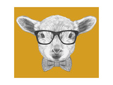 Portrait of Lamb with Glasses and Bow Tie. Hand Drawn Illustration. Posters af  victoria_novak