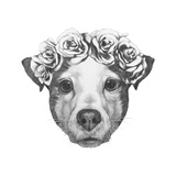 Original Drawing of Jack Russell with Floral Head Wreath. Isolated on White Background. Prints by  victoria_novak