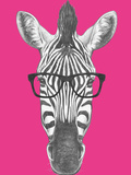 Portrait of Zebra with Glasses. Hand Drawn Illustration. Posters by  victoria_novak
