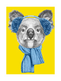 Portrait of Koala with Scarf and Earmuffs. Hand Drawn Illustration. Plakater af victoria_novak
