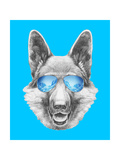 Portrait of German Shepherd with Mirror Sunglasses. Hand Drawn Illustration. Print by  victoria_novak