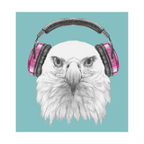 Portrait of Eagle with Headphone. Hand Drawn Illustration. Prints by  victoria_novak