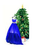 Elegant Dress Hanging on Christmas Tree. Watercolor Illustration Print by Anna Ismagilova