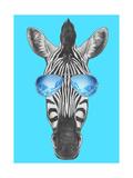 Portrait of Zebra with Mirror Sunglasses. Hand Drawn Illustration. Plakater af victoria_novak