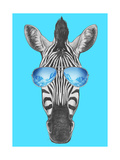 Portrait of Zebra with Mirror Sunglasses. Hand Drawn Illustration. Prints by  victoria_novak