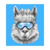 Portrait of Lama with Ski Goggles. Hand Drawn Illustration. Kunst af  victoria_novak