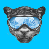 Portrait of Panther with Ski Goggles. Hand Drawn Illustration. Premium Giclee Print by  victoria_novak