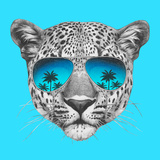 Original Drawing of Leopard with Mirror Sunglasses. Isolated on Colored Background Art by  victoria_novak