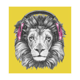 Portrait of Lion with Headphones. Hand Drawn Illustration. Premium Giclee Print by  victoria_novak