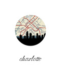 Charlotte Map Skyline Prints