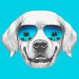 Portrait of Golden Retriever with Mirror Sunglasses. Hand Drawn Illustration. Print by  victoria_novak