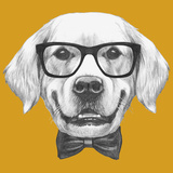 Portrait of Golden Retriever with Glasses and Bow Tie. Hand Drawn Illustration. Posters by  victoria_novak