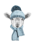Portrait of Lamb with Hat and Scarf. Hand Drawn Illustration. Prints by  victoria_novak