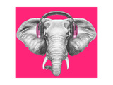 Portrait of Elephant with Headphones. Hand Drawn Illustration. Poster by  victoria_novak