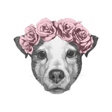 Original Drawing of Jack Russell with Floral Head Wreath. Isolated on White Background. Print by  victoria_novak
