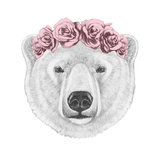Portrait of Polar Bear with Floral Head Wreath. Hand Drawn Illustration. Posters by  victoria_novak