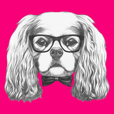 Portrait of Cavalier King Charles Spaniel with Glasses and Bow Tie. Hand Drawn Illustration. Posters by  victoria_novak
