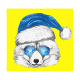 Portrait of Fox with Santa Hat and Sunglasses. Hand Drawn Illustration. Posters by  victoria_novak