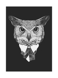 Portrait of Owl in Suit. Hand Drawn Illustration. Prints by  victoria_novak