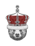 Original Drawing of Bear with Crown. Isolated on White Background Art by  victoria_novak