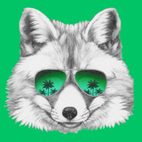 Original Drawing of Fox with Mirror Glasses. Isolated on Colored Background Art by  victoria_novak