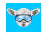Portrait of Lamb with Ski Goggles. Hand Drawn Illustration. Prints by  victoria_novak