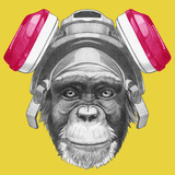 Portrait of Monkey with Gas Mask. Hand Drawn Illustration. Prints by  victoria_novak