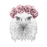 Portrait of Eagle with Floral Head Wreath . Hand Drawn Illustration. Prints by  victoria_novak