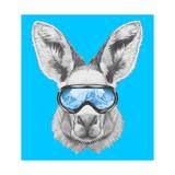 Portrait of Kangaroo with Ski Goggles. Hand Drawn Illustration. Kunst af victoria_novak